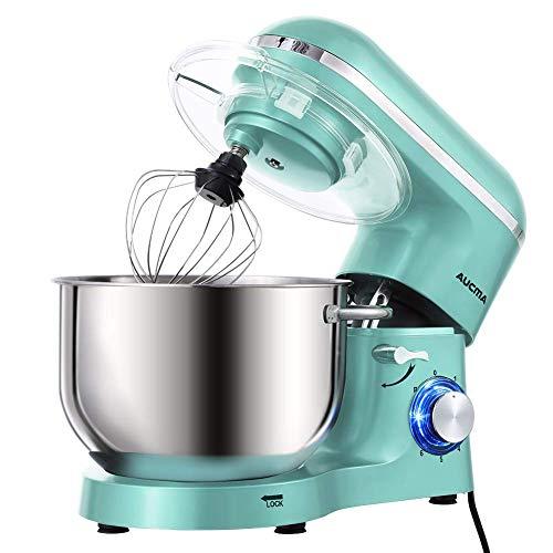 Aucma Stand Mixer,6.5-QT 660W 6-Speed Tilt-Head Food Mixer, Kitchen Electric Mixer with Dough Hook, Wire Whip & Beater (6.5QT, Blue) (Renewed)