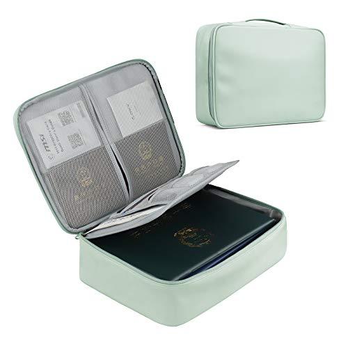 Baona 書類収納バッグ 耐火バッグ 難燃加工 防火ファスナー タブレット収納可能 パスポートファイル 財産収納ケース 集金袋 貴重書類保管ケース 大容量 安心 (PU-Mint green)
