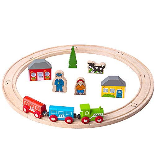 Bigjigs Rail My First Wooden Train Set - Beginner Railway Set