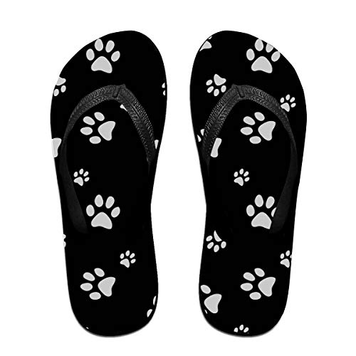 Flip Flops for Home Animal Dog Puppy Paw Print Black Walking Sandals for Casual, Beach, Pool, Shower, Spa, Party
