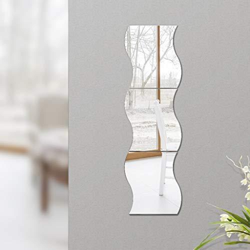ZI Ling Shop- Montado en la Pared Espejo del baño Baño de Cuerpo Entero Espejo del Dormitorio Espejo de la vanidad Costura Ondulada Tres Piezas
