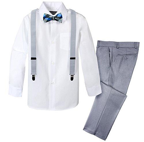 Spring Notion Boys' 4-Piece Patterned Dress up Pants Set 2T Light Grey/Silver