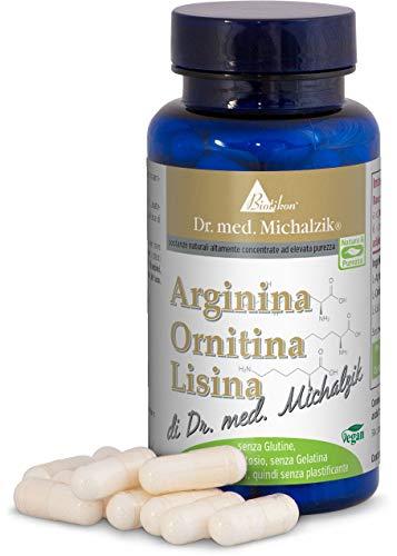 Arginina Ornitina Lisina según el Dr. medicina Michalzik - 90 cápsulas - cada cápsula contiene 200 mg de L-Arginina HCL, 150 mg de L-Ornitina HCL y 200 mg de L-Lisina HCL - sin aditivos - de BIOTIKON®
