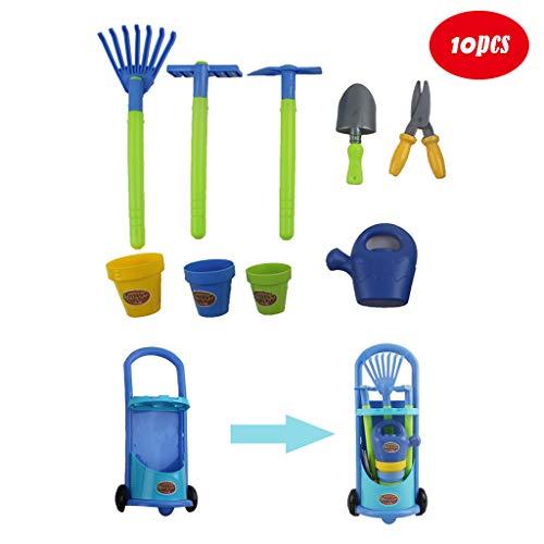 jujunshangmao Garden Tool Toys Set, Garden Wagon & Tools Toy Set for Kids with 10 Gardening Tools-Best Garden Tools Kit Organizer for Kids (Sky Blue)