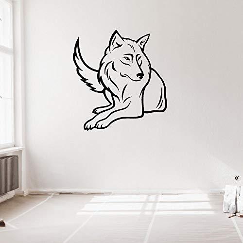 JXND Nuevo Elegante Lobo Sentado Silueta Animal Pared Artista Dormitorio y habitación de Hotel decoración 85x90 cm