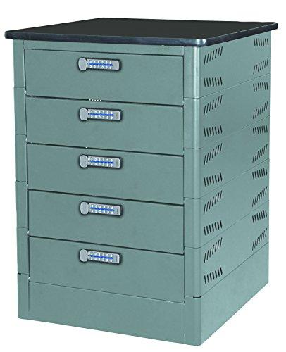 Datum Storage Intellerum TekStak Collection 5 Tier Electronic Laptop/Tablet/Phone Charging Locker with Black Laminate Top, Tan Metallic Paint