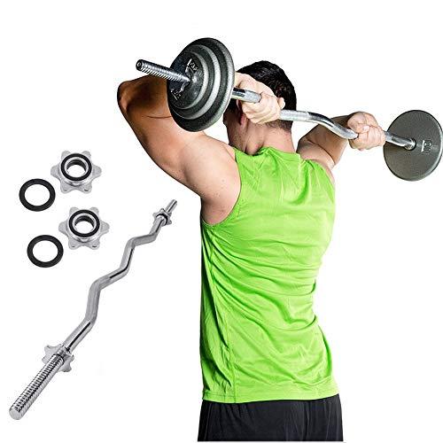 RUIMI 2021 Nuevo 47'/59' Barra de Musculación de Pesas,con 2 Collares,Diámetro Ø25mm,120cm/150cm Potencia Barras de Entrenamiento de Fuerza de Varilla Curva,para Biceps y Triceps,Plata1.5M(5ft) Ø25mm