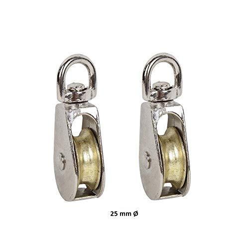 DOJA Industrial | Flaschenzug Einzelhaken vernickelter Stahl | PACK 2 | 25mm Durchmesser | Umlenkrollen schwenken für stahlseil, seilwinde, seilrolle Wäscheleinenseile unter anderen Verwendungen.
