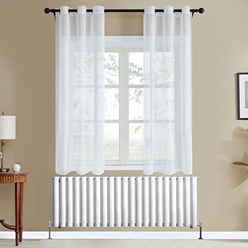 Topfinel Voile Vorhänge Leinenstruktur mit Ösen Durchsichtig Einfarbig für Fenster Wohnzimmer Schlafzimmer Moderne und Elegante Gardine 2er Set je 215x117cm (HxB) Weiß