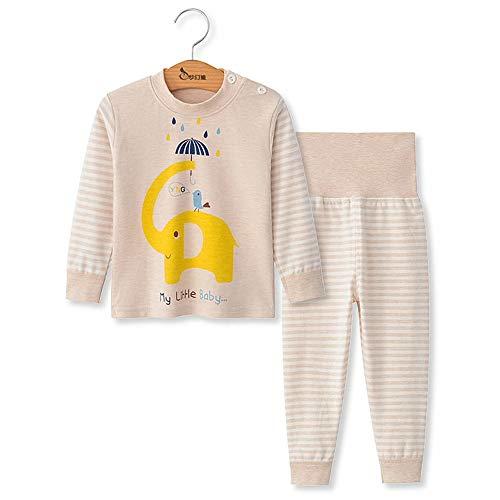 Chickwing Kinder Zweiteiliger Schlafanzug, Mädchen Jungen Unisex Langarm Hohe Taille Pyjama Pjs 100% Baumwolle 6 Monate-5 Jahre Höhe Größe 73 80 90 100 110 (2 Jahre Alt, Beige Elefanten Streifen)