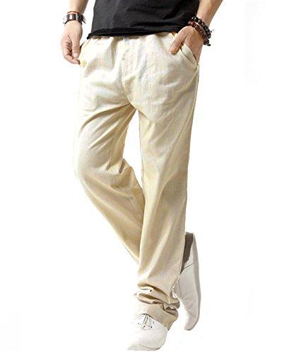 SIR7 Men's Linen Casual Lightweight Drawstrintg Elastic Waist Summer Beach Pants Beige, Large