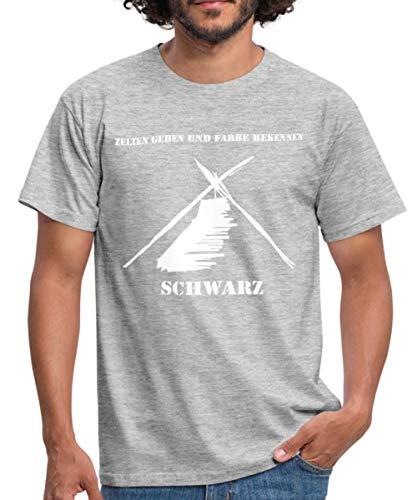 Kothe Schwarz Zelten Gehen und Farbe Bekennen Männer T-Shirt, L, Grau meliert