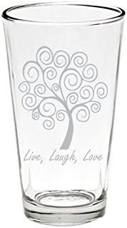Live, Laugh, Love Tree Pint Glass 16 oz. USA Made