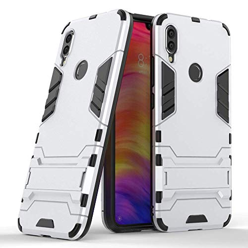 "Max Power Digital Funda para Xiaomi Redmi Note 7 / Redmi Note 7 Pro (6.3"") con Soporte (Xiaomi Redmi Note 7, Plata)"