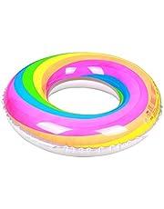 Zwemring Regenboog Opblaasbare Zwemring Opblaasbare Regenboog Luchtbed Zwembad Floatie Voor Volwassenen & Kinderen Party, Zwembad, Strand