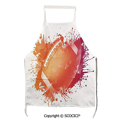 SCOCICI Rugby Ball in Watercolors Splash Recreational Leisure Sports Run Design Unisex Kitchen Chef Apron with Pockets for Cooking Baking Crafting Gardening and BBQ
