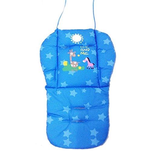 Natural Home Universal Kinderwagen Sitzkissen Baby Sitzauflage Baumwolle, Buggy Auflage (Blau)