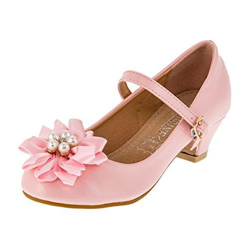 Festliche Mädchen Ballerina Pumps Schuhe mit Echt Leder Innensohle und Absatz M409rs Rosa 34