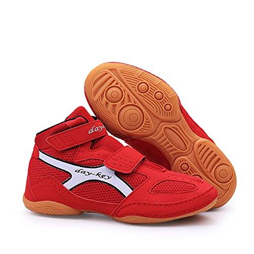 WJFGGXHK Zapatos de lucha libre para niños, botas de boxeo ligeras con suela de goma Taekwondo, zapatillas deportivas para niños, adolescentes, niñas, rojo, 30