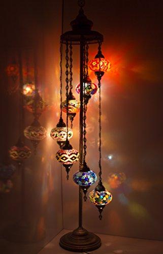Hecho a mano turco árabe marroquí oriental bohemio Tiffany estilo mosaico de vidrio colorido lámpara de pie lámparas decoración del hogar 7 gran globo