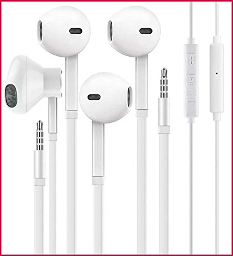 [2 Pack] Aux Headphones/Earphones, Earbuds 3.5mm Wired Headphones Noise Isolating Earphones Volume Control & Built-in Microphone Compatible with Android/Samsung/Sony/Nokia/iPhone/MP3/4 Players/PC