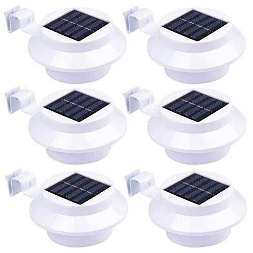 Solarlampen für Außen, LED Solar Dachrinnenleuchten Dachrinne Gartenhof Wandleuchte, wasserdichte Sicherheitslampe [Energieklasse A +++] (6 Stück, Reinweiß)