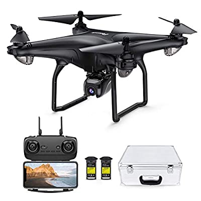 Potensic D58 GPS Drone with 2K Camera ,5G WiFi FPV Live Transmission Drone for Adults, RC Quadcotper Helicopter, Auto-Return, Follow Me, Altitude Hold, GPS Drone with Aluminum Case and 2 Batteries