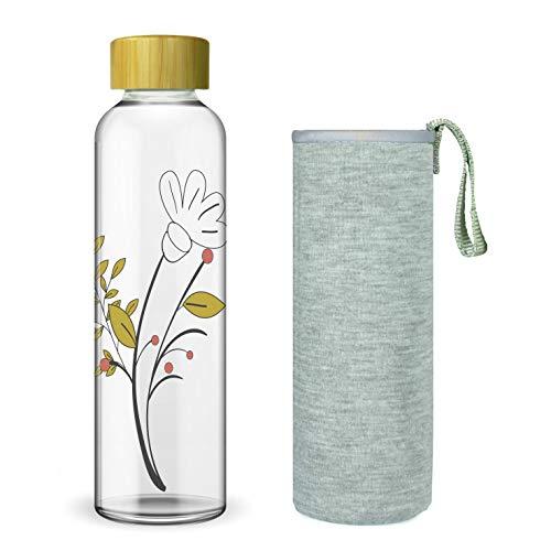 Wenburg Trinkflasche/Glasflasche mit Print und Bambus Deckel 550/750/1000 ml, Neopren Hülle. Sportflasche/Wasserflasche aus Glas. Für Unterwegs. Für Tee, Wasser, Smoothie (750 ml, Blume)