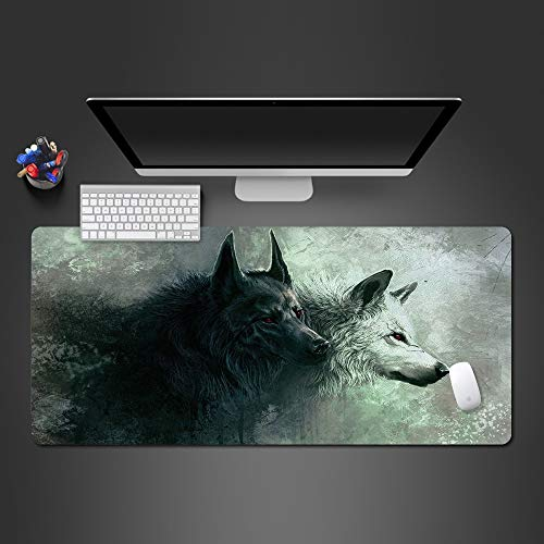 YWSZY-Mouse Pad wit en zwart wolf muismat voor spel speler spel matten Computer Office toetsenbord tafel matten muismat