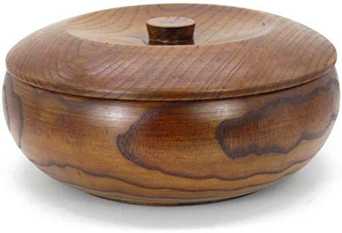 Kom Houten Kom Soep Acacia Hand Made Plate Noten met deksel, Kleur: 21 * 8,5 cm (Color : 22 * 8.5cm)