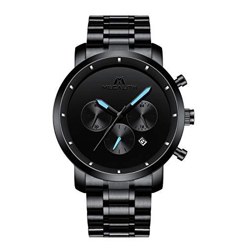 Herren Uhren Schwarz Herren Edelstahl Chronograph Wasserdicht Sport Analog Uhr Date Kalender Business Casual Dress Armbanduhren für Männer