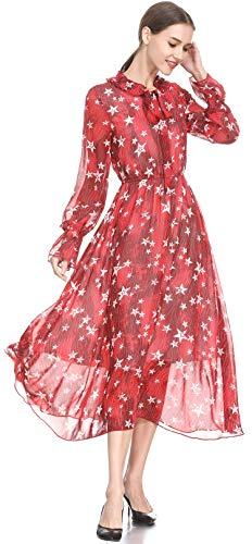 XINUO Vestido de Mujer con Estampado Floral de Estrellas, Manga Larga, Vestido Largo hasta la Rodilla - Rojo - 38/40 ES (tamaño De La Etiqueta M)