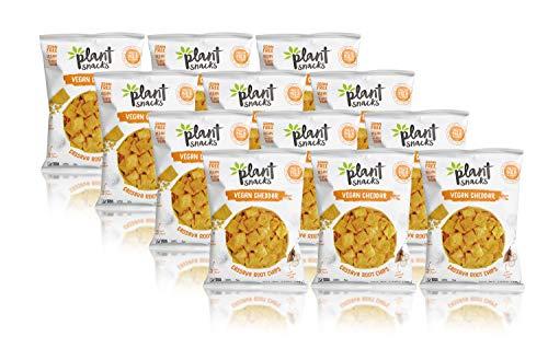 Plant Snacks VEGAN Cheddar Mix Cassava Root Chips, Vegan, Big-8 Allergen Free, Non-GMO Project Verified, Gluten Free, Grain Free, No Added Sugar, 1.25 oz Snack Bags, Pack of 12