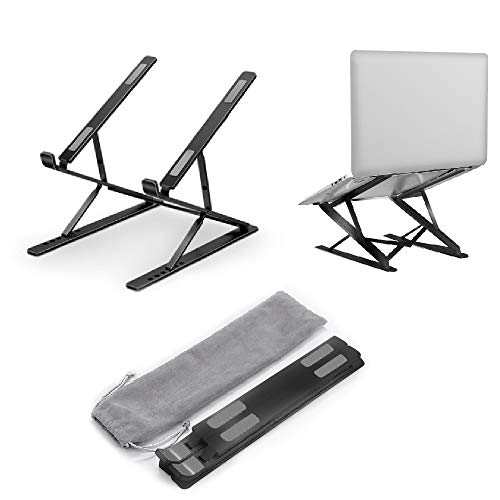 Laptop Stand Laptop Riser Adjustable Height 9 & 6 Adjustable Levels Double-Layer Use Ergonomic Foldable Portable Anti-Slip Silicone Design Computer Holder Bracket Cooling Holders for 12.6'' - 17.3''