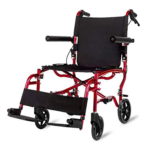 ZZX Rollstuhl Faltbar Leichte Tragbare Aluminiumrollstühle Mit Handbremsen Transport Rollstuhl Rollstuhlträger Mit Trommelbremse Faltbar,Red