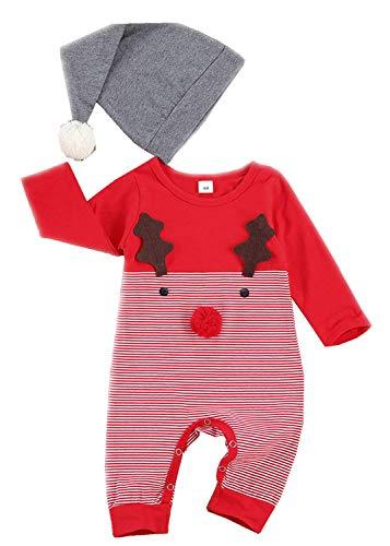 Noubeau Baby Girls Boys My 1st Christmas Clothes Stripe Tree Christmas Tree Romper Jumpsuit Pajamas Hat Set (Red-Stripe Deer, 6-9 Months)