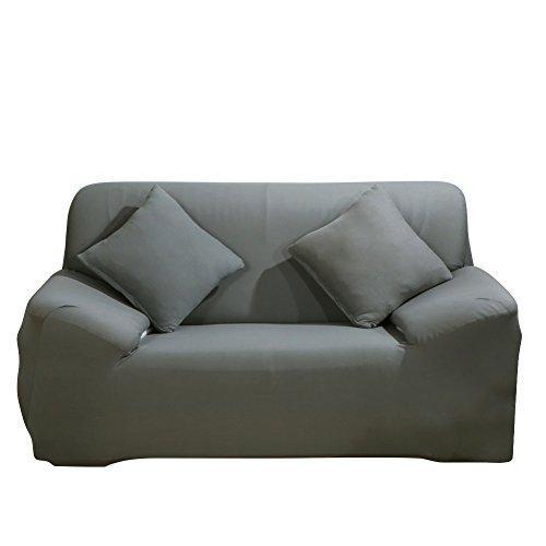 ele ELEOPTION Sofa Überwürfe Sofabezug Stretch elastische Sofahusse Sofa Abdeckung in Verschiedene Größe und Farbe (2 Sitzer für Sofalänge 130-170cm, Grau)