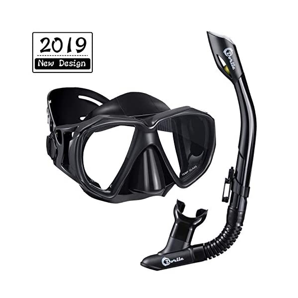 Dorlle Snorkel Set for Adults and Youth,Upgraded Anti-Fog Anti-Leak Wide View Snorkel Diving Mask and Easy Breathing Dry Top Snorkel