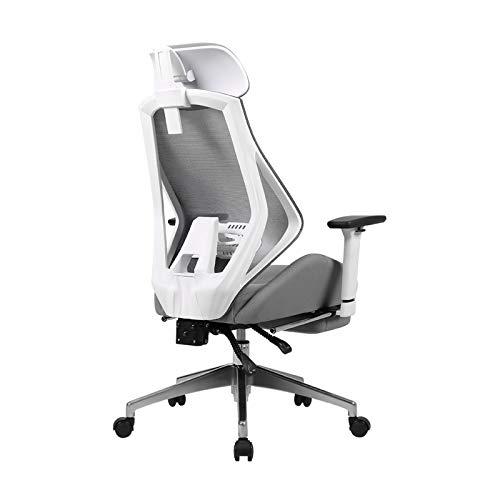 Silla oficina ejecutiva Silla ergonómica de oficina, silla de escritorio giratorio de cuero de PU, malla transpirable hacia atrás, silla reclinada de alto nivel de altura ajustable con reposabrazos y