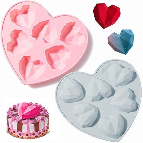JAHEMU Herzform 3D Schokolade Silikonform Diamant herz Seifenformen Kuchenform Muttertag Dekoration für Verzieren Kuchen, Süßigkeiten, Schokolade, Eiswürfel, 2 Stück