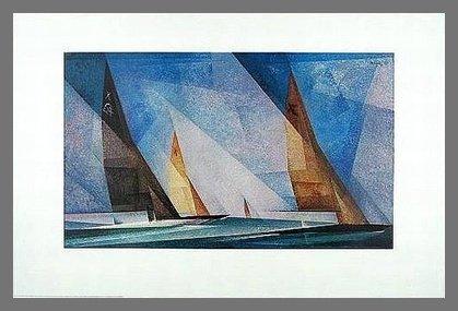 Lyonel Feininger Poster Kunstdruck Segelboote 70 x 50 cm mit Alu Rahmen in Champagne