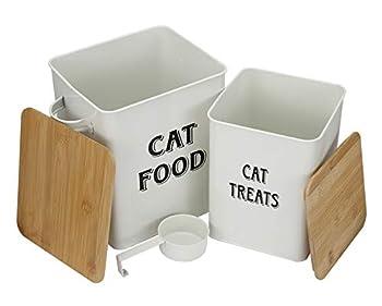 Lot de boîtes de conservation pour nourriture et friandises pour animaux de compagnie avec pelle pour chats ou chiens – Couvercles en bois hermétiques – Acier carbone revêtu – Boîtes de rangement