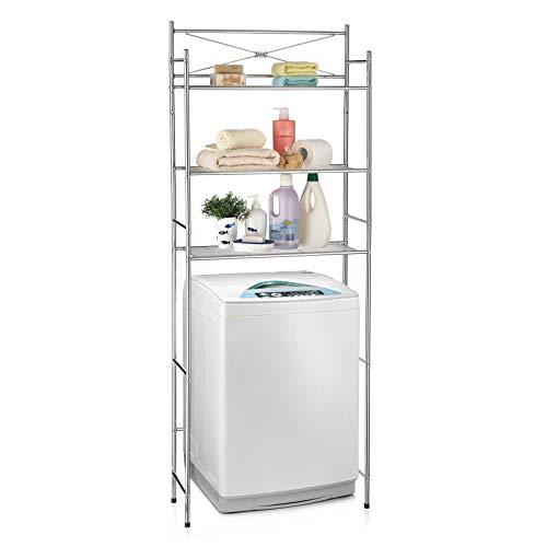 CARO-Möbel Toilettenregal MARSA Waschmaschinenregal Badezimmerregal Bad WC Regal mit 3 Ablagen in Chrom