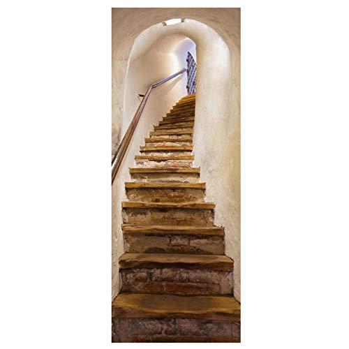 3D deur Mural sticker behang eenvoudige huis landschap schilderij groene gras park trap sticker mooie stad hal cave decor foto wandafbeeldingen Stair