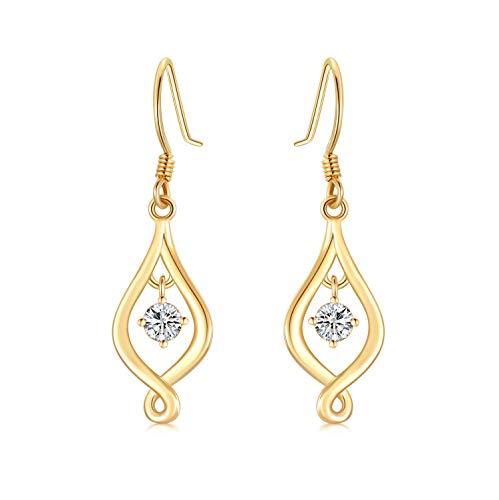 SISGEM 14K Solid Yellow Gold Infinity Love Drop Earrings Dangles for Women Moissanite Dangle Earrings Christmas Birthday Gifts for Her(Yellow, gold)