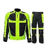 wuhx giubbotto moto uomo giacca motocicletta e pantaloni 2 pezzi combinazione armatura protettiva,4xl