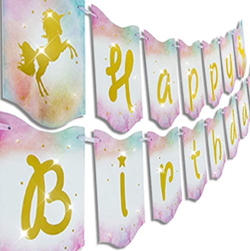 Happy Birthday Unicorn Banner Garland Pennants Supplies by Praity | Shimmering Gold Foil Letters, Ergonomic Hanging Strings | for Birthday Parties, Unicorn Theme Decoration, Girl's Birthday Party