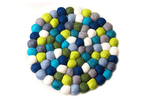 owllo Large Felt Ball Trivet, Handmade Felt Balls Coasters, Bright and Colorful Felt Ball Trivet, Table Heat Resistant Mat, Very Durable! – 20cm Round