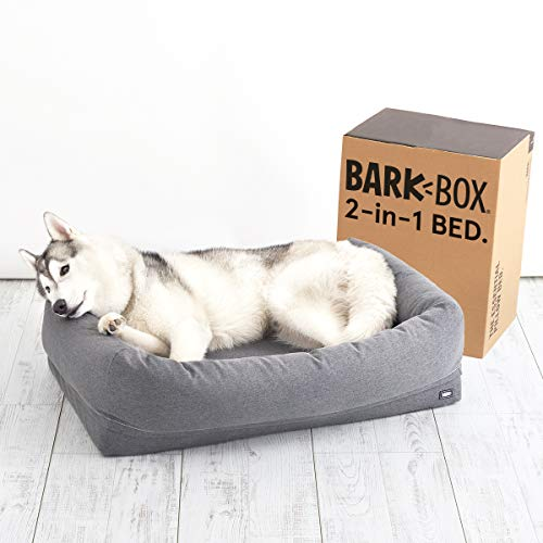 Barkbox 2-in-1 Memory Foam Dog Bolster Bed | High Density 3'' Base Orthopedic Joint Relief Crate Lounger or Donut Pillow Bed, Machine Washable + Removable Cover | Waterproof Lining | Large, Grey