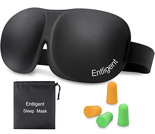 Entligent Antifaz para Dormir 3D, Antifaz Máscara Tapa para Dormir 100% Anti-Luz Viaje con Espuma de Memoria Banda Elástica Ajustable Cómoda y Ultra Suave para Mujers y Hombres
